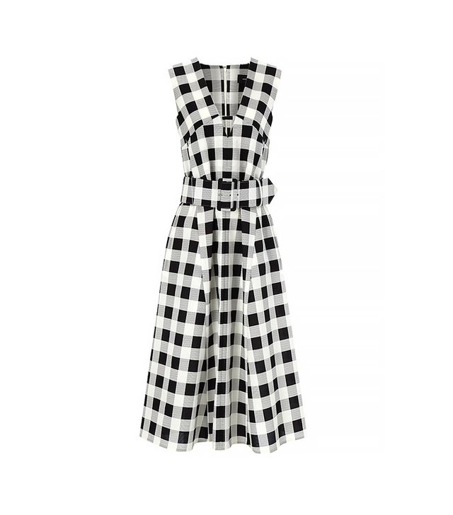 Derek Lam Black Faille Checked Belted Dress in Black