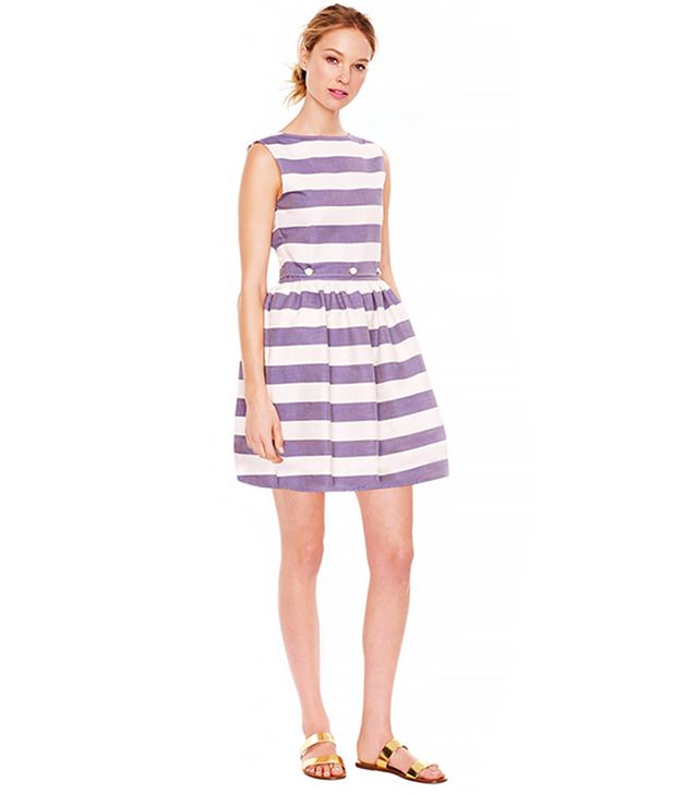 Maison Kitsuné Stripe Bali Dress in Navy Cream