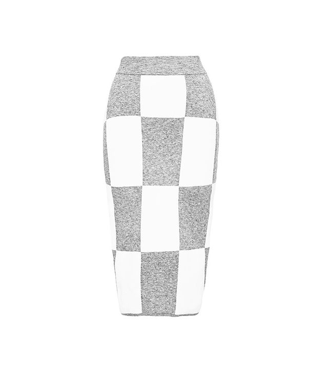 Derek Lam 10 Crosby Checkerboard Knit Skirt in Grey/White
