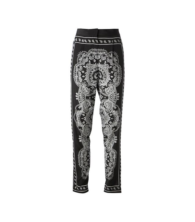 DKNY Silk Bandana-Print Pants in Black/White