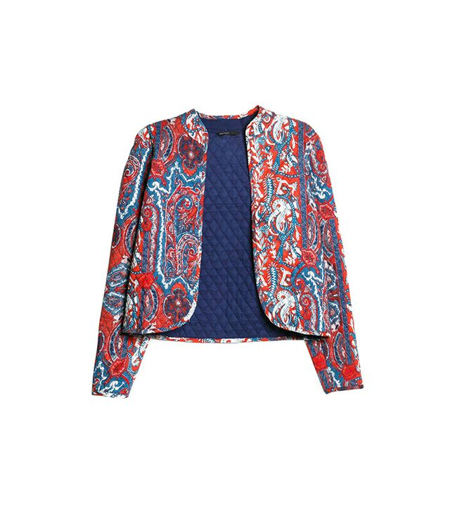 Mango Paisley Quilted Jacket in Coral