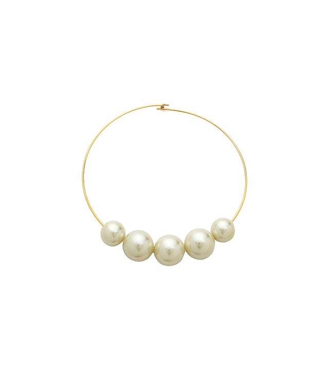 Kenneth Jay Lane Pearl Choker Necklace in Pearl/Gold