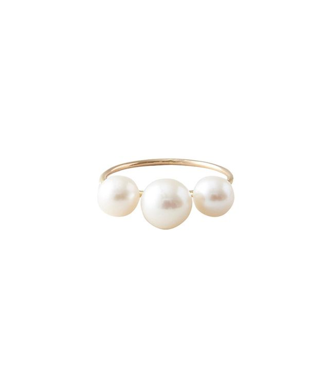 Saskia Diez 3 Pearls Ring in Gold
