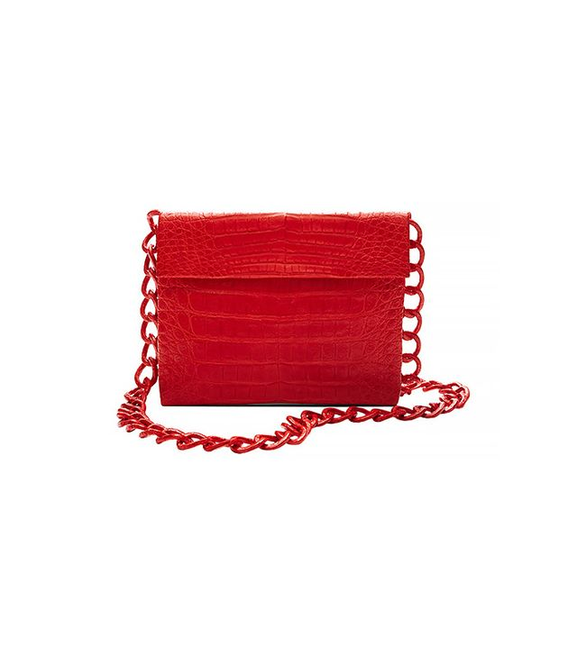 Crocodile Wallet-on-a-Chain Crossbody Bag in Red