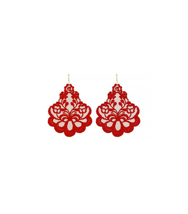 Oleandro Red Lace Earrings