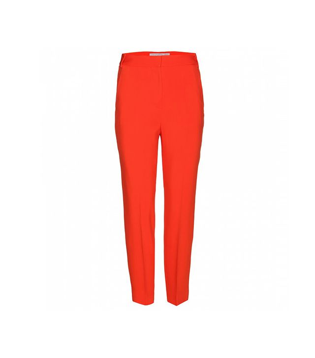 Stella McCartney Twill Straight-Leg Cropped Trousers in Vermillion