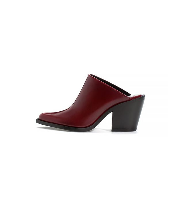 Zara High Heeled Singback Booties in Burgundy