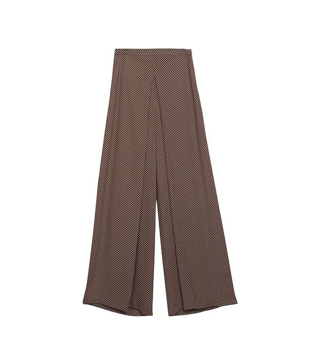 Zara Polka Dot Palazzo Pants in Brown/Ecru