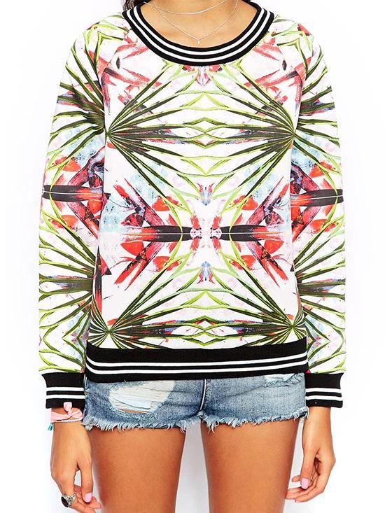 Glamorous Tropical Print Sweatshirt