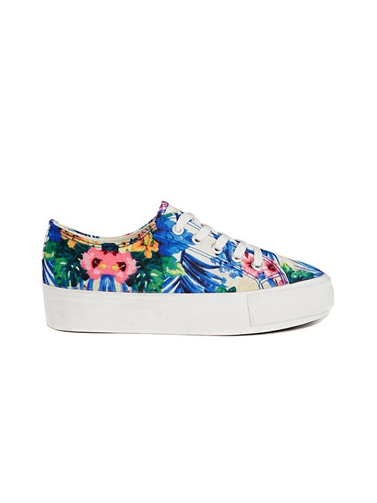 New Look Maribbean Tropical Print Flatform Sneakers