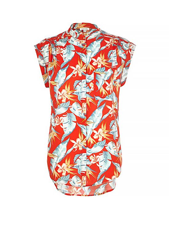 River Island Red Tropical Print Grandad Collar Shirt