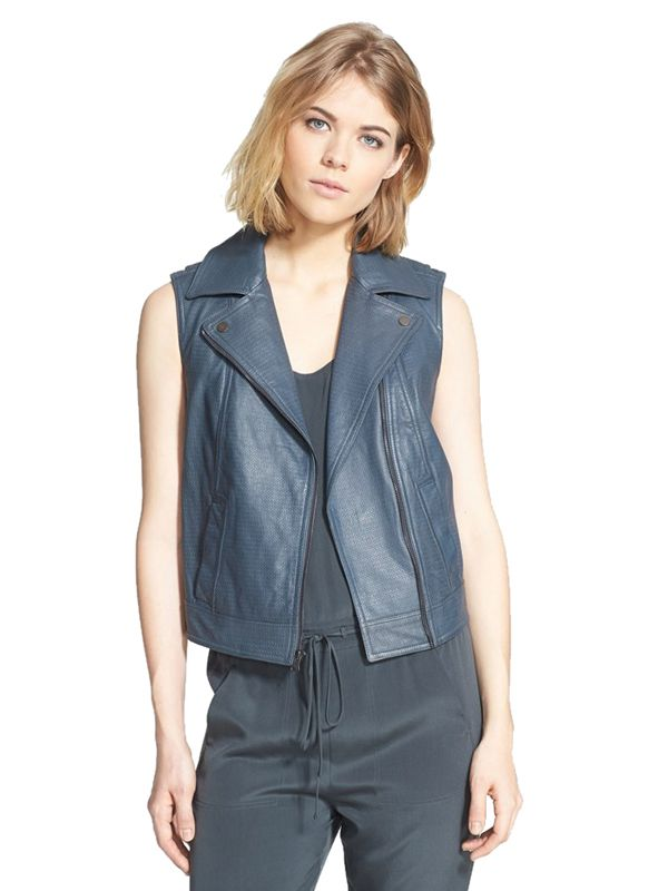 Vince Embossed Leather Vest