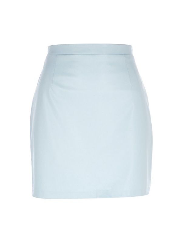 River Island Light Blue Leather-Look Mini Skirt