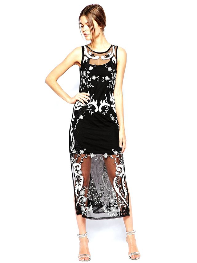 ASOS Premium Embroidered Midi Dress