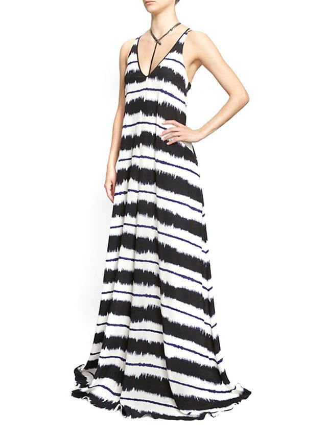 10 Crosby Derek Lam Criss-Crossed Strap Ink Maxi Dress
