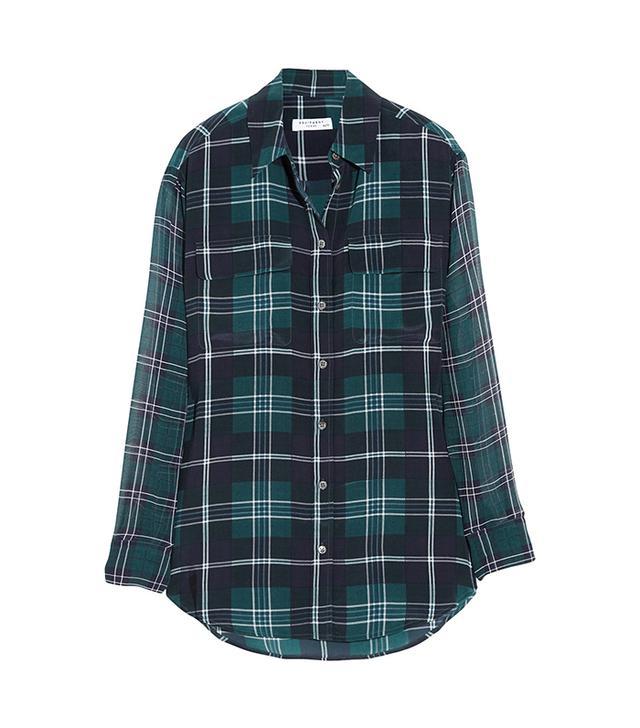 Equipment Signature Plaid Washed-Silk and Chiffon Shirt