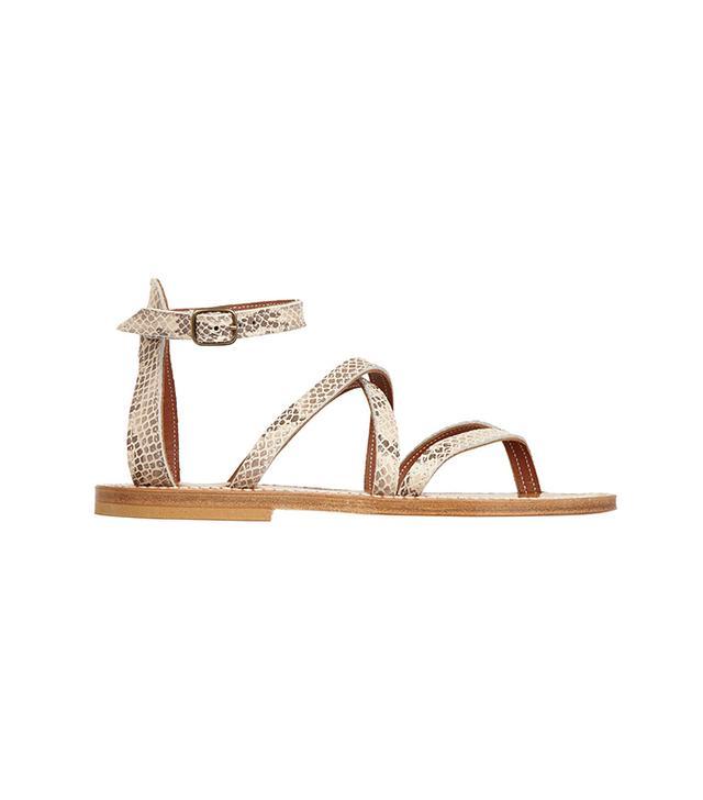 K Jacques St Tropez Epicure Snake-Effect Leather Sandals