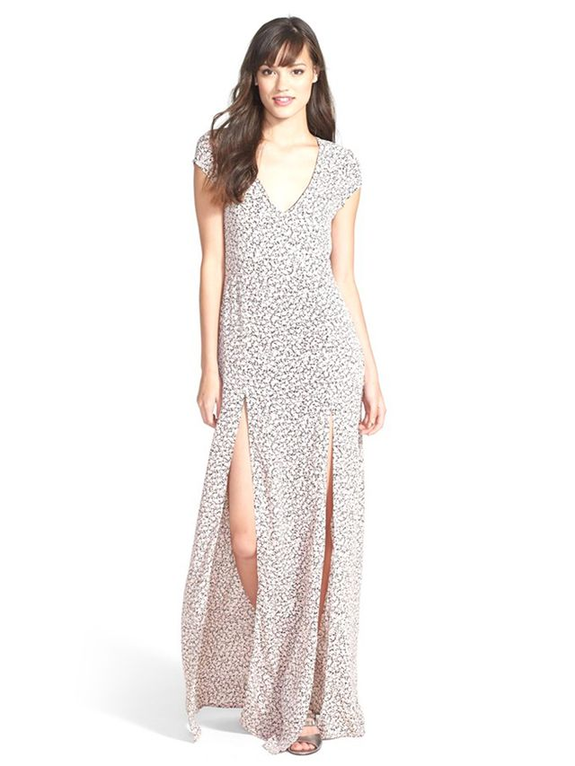 For Love & Lemons Hailey Print Crepe Maxi Dress