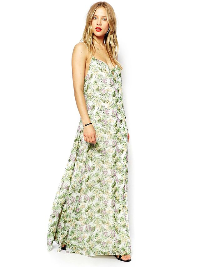 ASOS Maxi Dress in Palm and Floral Print