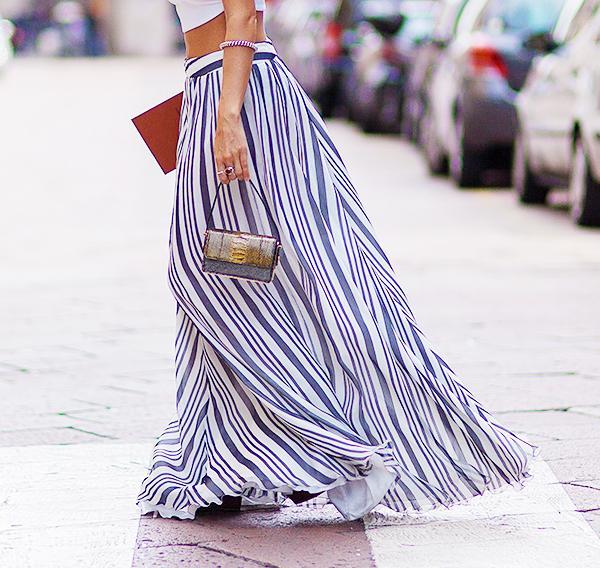 Carry it with: Crop top + voluminous skirt