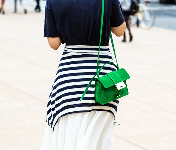 Carry it with: Striped cardigan + pleated skirt