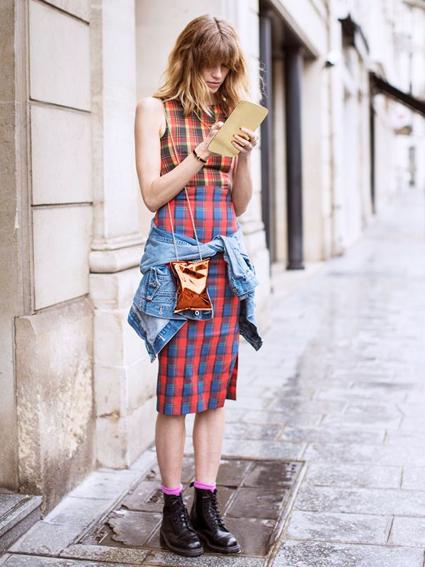 Carry it with: Plaid dress + lace-up boots