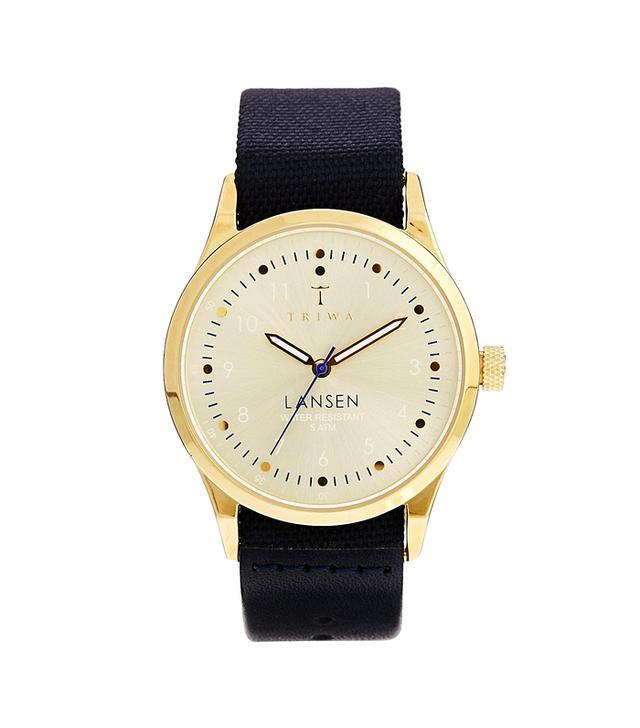 Triwa Gold Lansen Navy Canvas Watch
