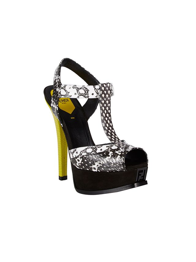 Fendi Python-Stamped T-Strap Fendista Sandals