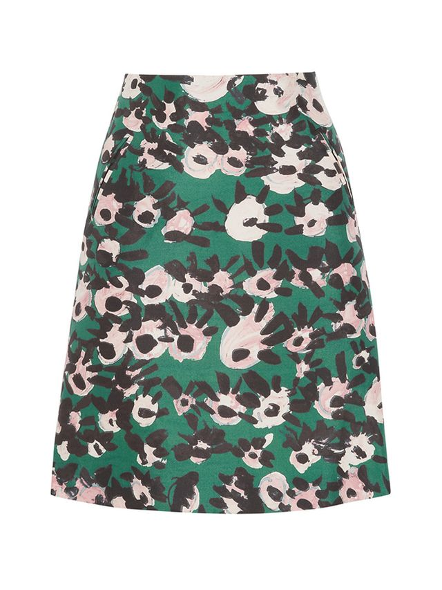 Marni Printed Cotton and Silk-Blend Twill Skirt