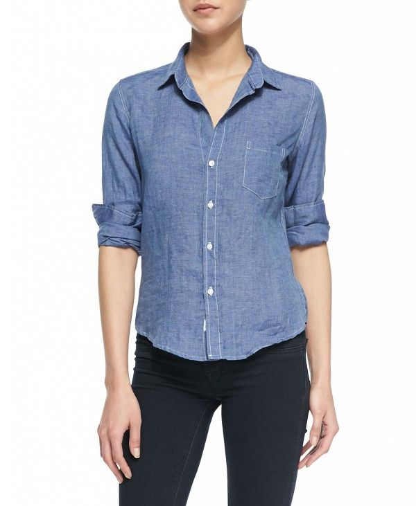 Frank & Eileen Barry Linen Button-Down Blouse