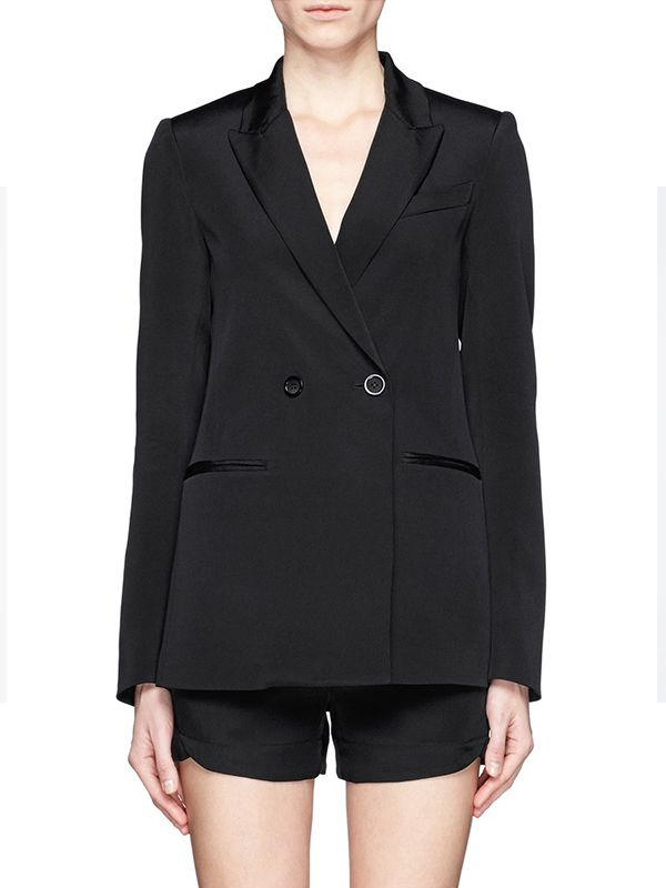 Theory Jannison Double-Breast Silk Blazer