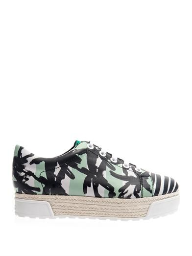 Kenzo Palm and Stripe-Print Flatform Trainers