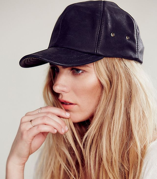 Free People Goleta Leather Baseball Cap
