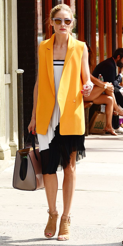 Olivia Palermo's Bright Orange Vest--Do You Love The Look?