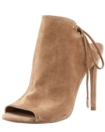 Aquazzura Mayfair Lace-Up Suede Booties