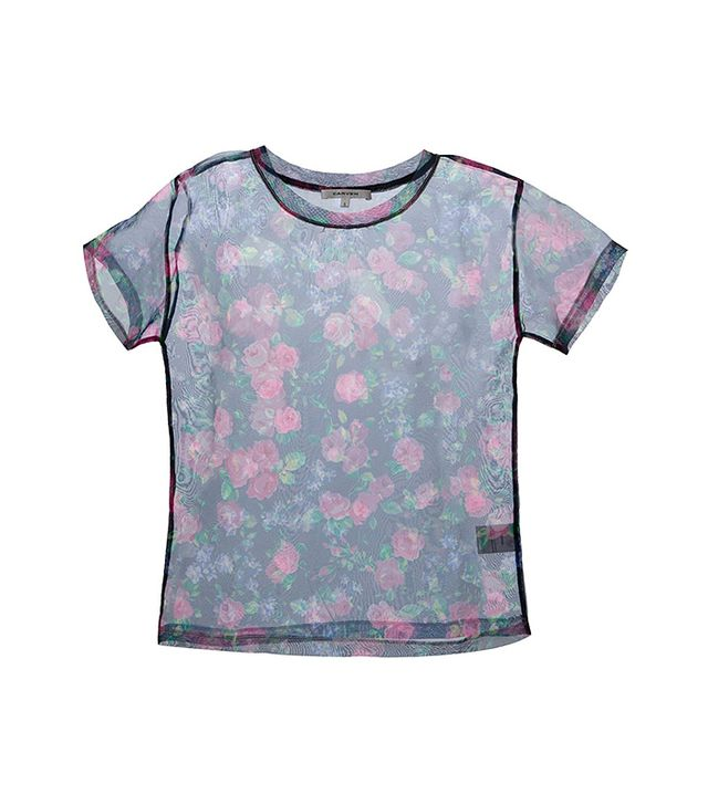 Carven Sheer Floral Top