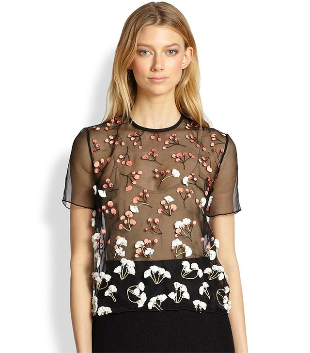Mother Of Pearl Juno Silk Embroidered Sheer Tee