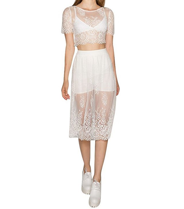 Pixie Market Loulou White Lace Matching Seperates