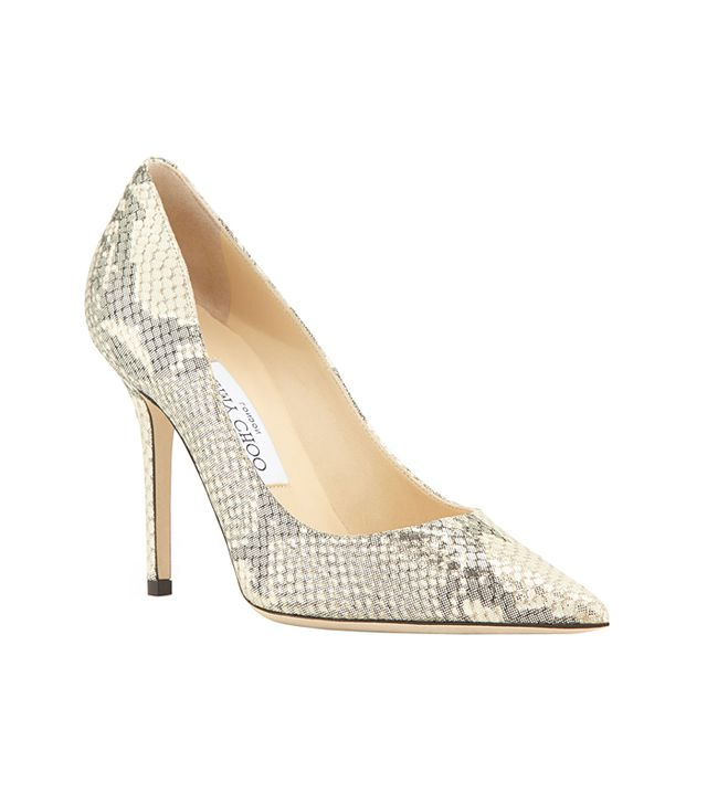 Jimmy Choo Abel Metallic Snake-Print Leather Point-Toe Pump