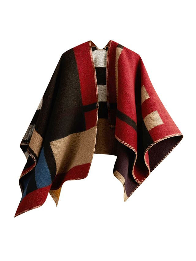 Burberry Prorsum Colour Block Check Blanket Poncho