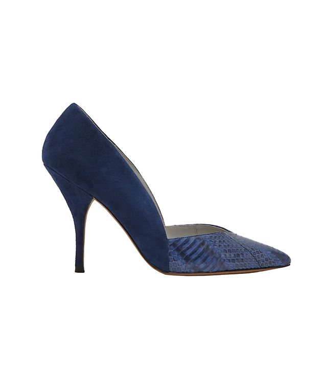 Reiss Arya Textured Two Tone Court Shoes