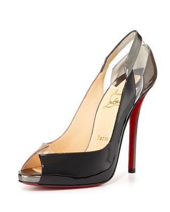 Christian Louboutin Technicatina Peep-Toe Combo Pumps