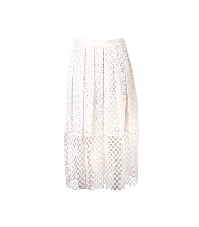 Tibi Perforated Hem Skirt