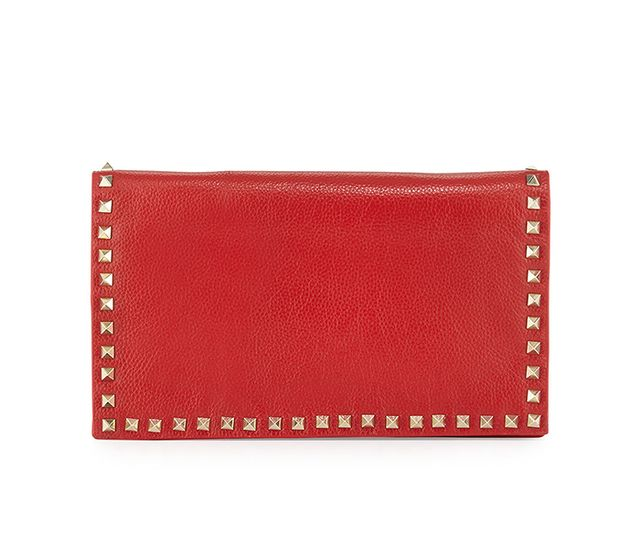 Neiman Marcus Carlyle Studded Leather Clutch Bag