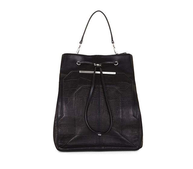BCBGMAXAZRIA Crocodile-Embossed Leather Backpack