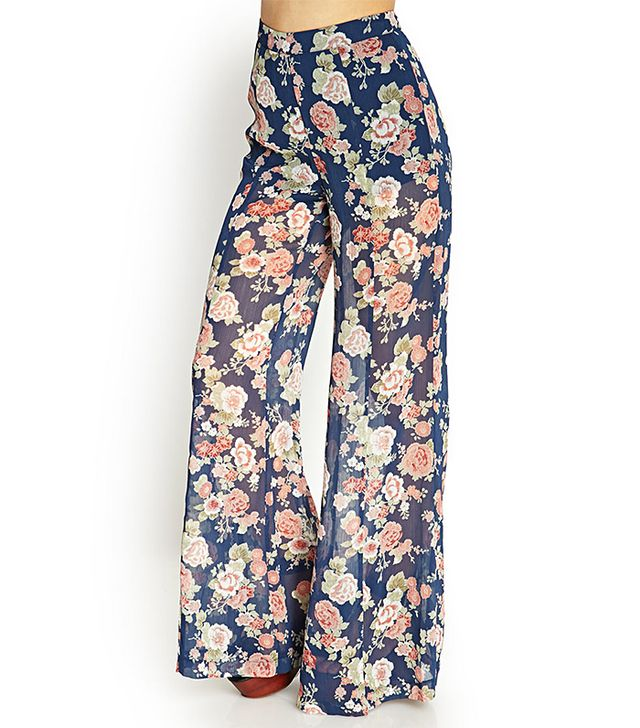 Forever 21 Floral Wide-Leg Pants