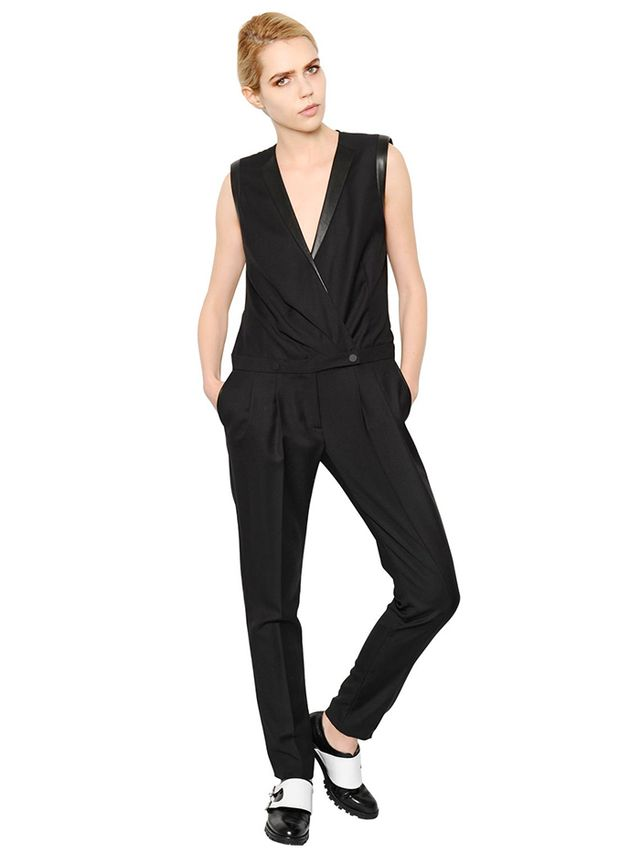 Karl Lagerfeld Wool Gabardine Tuxedo Jumpsuit