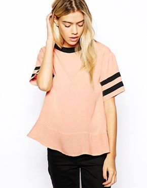 Influence Boxy Top With Striped Sleeves