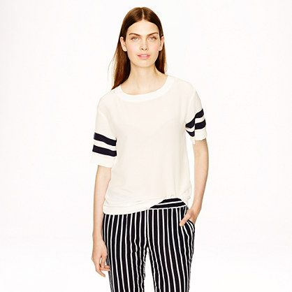 J.Crew Silk stripe-sleeve tee