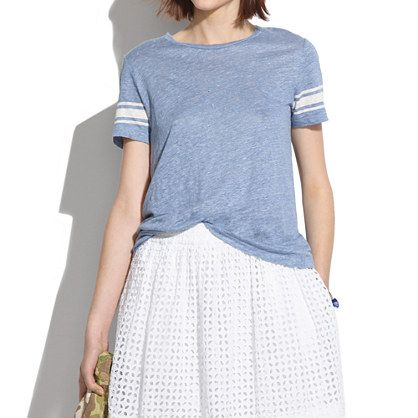 Madewell Linen Half-Court Tee in Stripe